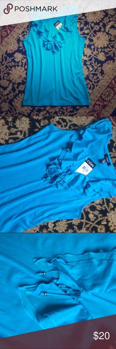 New!!! Blue blouse Size medium. Brand new with tags. No trades. Chaps Tops