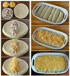 Enrolla tortillas de trigo con pollo horneado y maíz, colócalas en un molde, cubre con salsa y queso. Hornea a 350°F por 35 minutos. Salsa: En un sartén derrite 3 cdas de mantequilla, con 1 1/4 taza de caldo de pollo, 1 taza de crema agria, 1 lata de crema de pollo, sal y pimienta.