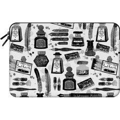 Macbook Sleeve - Calligraphy - Cute typography vintage retro design by... ($60) ❤ liked on Polyvore featuring accessories, tech accessories and macbook sleeve