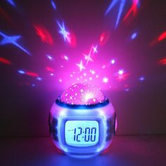 Buy Music Glowing Starry Star Sky Digital Led Watch Projection Projector Alarm Clock Calendar Thermometer Horloge Reloj Despertador at Wish - Shopping Made Fun Musical Night Light, Star Night Light, Stars At Night, Star Sky, Night Lights, Projection Alarm Clock, Led Alarm Clock, Clock Timer, Night Light Projector