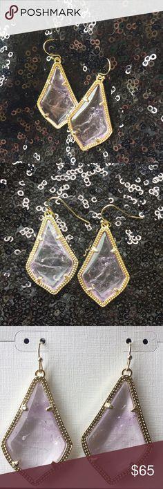 Kendra Scott Alex Earrings Very light amethyst stone set in gold tone Kendra Scott Jewelry Earrings