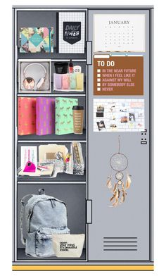 """my locker"" by annieanne-tumblr13 ❤ liked on Polyvore featuring interior, interiors, interior design, home, home decor, interior decorating, Sugar Paper, H&M, Kate Spade and Frends"