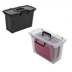 File Box with Hinged Lid and Clip Handles Smart Storage, Storage Shelves, Shelving, Organisation Hacks, Organising Hacks, Handle, Box, Christmas, Life