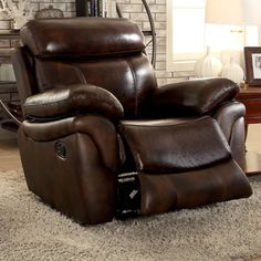 Upholstered in top grain leather, the Furniture of America Benson Transitional Style Leatherette Recliner Arm Chair brings style and comfort home.