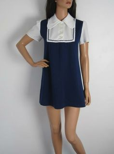 Vintage 1960s Blue & White Nautical Mod Mini Dress With Collar available to buy online at Virtual Vintage Clothing £40