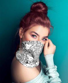 Stunning Black and White Floral Bohemian Multi-use Neck Gaiter For Women Diy Mask, Diy Face Mask, Face Masks, Bandana Hairstyles, Christen, Sphynx, Fashion Face Mask, Neck Scarves, Boho