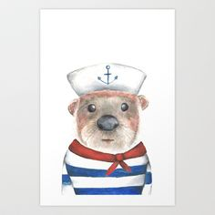 Sailor Otter Art Print by luciesperry Watercolor Animals, Watercolor Paintings, Otters, Sperrys, Sailor, Teddy Bear, Art Prints, Cute, Crafts
