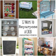 Wish I had this type of crib! Ways to Repurpose a Crib and lots of other fun things listed at the end. chairs, garden tools, old drawers, old doors.