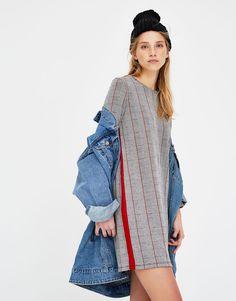 Vestido manga larga cuadros - Vestidos - Ropa - Mujer - PULL&BEAR Colombia