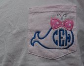 Whale with Bow Monogram Pocket Tee Short Sleeve