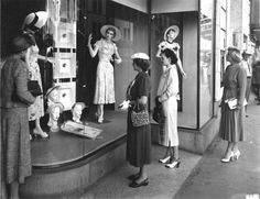 Vintage NYC_Women window shopping at Bergdorf Goodman, 1942. Description from pinterest.com. I searched for this on bing.com/images