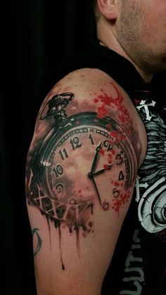 Chronic Ink Tattoo - Toronto Tattoo Pocket watch tattoo in progress, done by Csaba (Joe)