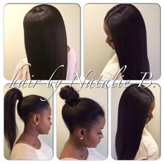 """Now introducing my PERFECT PONY© Sew-In Hair Weave Technique!!!! This particular sew-in allows you the versatility of wearing your flawless sew-in hair weave up in a sleek high ponytail or bun! Call or text me to schedule your appointment for one today! This look was created using MALAYSIAN RELAXED NATURAL HAIR in 14/16/18""""...available online at www.naturalgirlhair.com."""