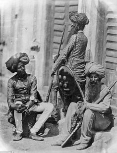 Rare Photos Of Indian Mutiny / Sepoy Mutiny / Indian Rebellion / Uprising Of 1857 Afghan Sikh Officers of Hodson's Horse, a cavalry regiment of the British Indian Army, during the Indian Mutiy Of Colonial India, British Colonial, Rare Photos, Vintage Photographs, Old Pictures, Old Photos, British Army, British Indian, History Of India