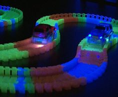 Boys ages 3 - 10 love the Bend a Path GLOW IN THE DARK Flexible Track Toy Set because of its endless track configurations that are easy for small hands to connect.  Comes with 2 light up cars that zip along day or night.  Batteries included for a fun gift straight out of the box!