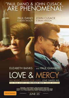Love & Mercy (2014 - dir. Bill Pohlad).  As conceived & written by veteran filmmaker Oren Moverman, the fact-based LOVE & MERCY intercuts two tracks of Brian Wilson's life. In so doing, LOVE & MERCY achieves the improbable: make a music biopic circa 2015 fresh and interesting.  Beach Boys! #makeamovie