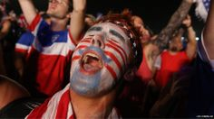 #Worldcup A football fan celebrates his team's victory as John Brooks headed a late winner for USA in a dramatic finale to their opening World Cup Group G game against Ghana