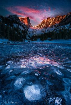 Sunrise over icy Dream Lake (Rocky Mountain National Park) by Stanley Chen Xi on 500px