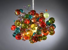 Pendant light Rainbow color bubbles by Flowersinlight on Etsy, $139.00