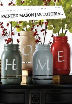 DIY Painted Mason Jars Tutorial | Mason Jar Vases | Add a touch of fall to your home decor with these fun painted mason jar vases!
