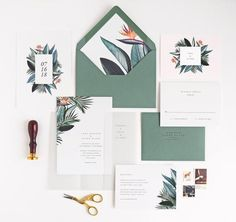 Vera Wedding Invitation & Correspondence Set / Romantic Modern Tropical Birds of Paradise and Palm Leaves / Sample Set Destination Wedding Invitations, Modern Wedding Invitations, Wedding Invitation Design, Wedding Stationary, Wedding Planning, Destination Weddings, Event Planning, Wedding Paper, Wedding Gifts