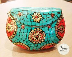 This Tibetan-themed bag with turquoise, coral and floral pattern is a wonderful statement accessory. Tibetan Buddhism, Buddha Buddhism, Coral Turquoise, Saddle Bags, Spirituality, Floral, Zen, Online Shopping, Pattern
