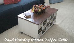 """Card Catalog Turned Coffee Table"""