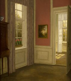 Interior with Rose Coloured Wall ~ William Henriksen ~ Thomas Fine Art European Paintings, Wall Colors, Danish, Artists, Fine Art, Landscape, Rose, Interior, Home Decor