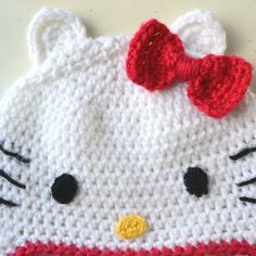 Crochet in Color: Hello Kitty Hat Pattern Other free patterns on right side of page