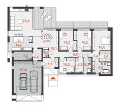 Rzut parteru Lake House Plans, Dream House Plans, Big Houses, Modern House Design, Floor Plans, Layout, Construction, Flooring, How To Plan