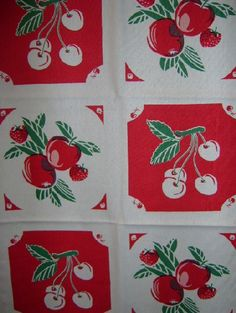 Darling Cherries & Fruite Red Retro Tablecloth Fabric Table Runner 17 x 46    www.nanalulusline...