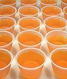 Creamsicle Jello shots                                       1 (3 ounce) box orange Jell-O  1 cup boiling water  1/4 cup orange juice  1/4 cup water  1/4 cup triple sec  1/4 cup pinnacle whipped cream flavored vodka    Read more: www.food.com/...