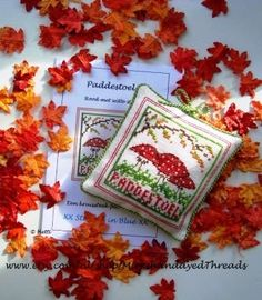 """Autumn design with the toadstool """"Red with White dots"""" Creative Workshop, Blackwork, Needlepoint, Cross Stitch, Handmade Gifts, Christmas, Dots, Inspiration, Magic"""