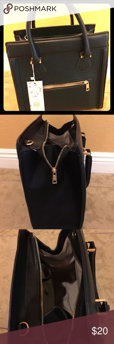 Chic Black Handbag~Vegan Leather Chic Vegan Black Boxy Handbag with Shoulder Strap-Great for Business or Travel~Carries Tablet, Books and Water or Smoothie Easily!! Dasein Bags Totes