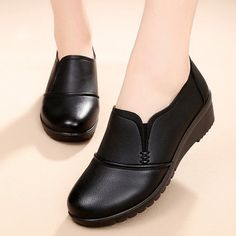 Pure Color Wedges Soft Sole Work Women Shoes