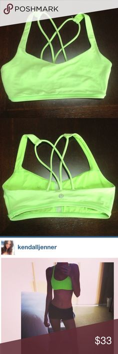Lululemon Free to Be Strappy Green Sports Bra 8 Amazing condition, rarely worn Lulu bra in sold out lime green. I love this bra but it's just too large for me. Best fits a 6. lululemon athletica Tops