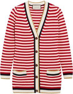 Gucci - Striped Stretch Cotton-blend Cardigan - Re…