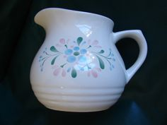 FASCINO, Stoneware, Cream Pitcher, Creamer, Hand Painted, Floral, Thailand…
