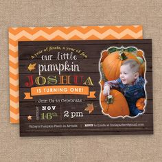 Boy First Birthday Little Pumpkin Invitation, Fall Theme, Wood and Chevron DIY Printable