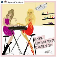 Therapy? All I need is a spa day!  • New comic for @glamourmex  • Realidades de un lunes... | Cómic by #fashcom #GlamourHappens #PinkQuote #illustration #fashion #nails #spa #happiness #dress #shoe #therapy #relax #glamour