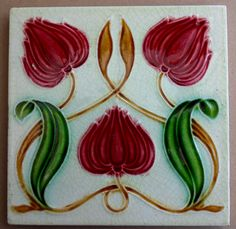Tile reference 870 in the book Art Nouveau Tiles with more Style this one was made by Corn .Mansfield Bros also used the same design c1905