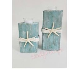 Wooden Beach Candle Holder Starfish Candle Holder Coastal