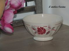 Bowl former decorated with flowers old bowl by lateliercarine