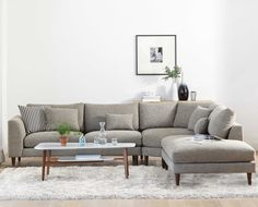 The grand Hugo sectional from Scandinavian Designs is a great value and a perfect fit for large families or those enjoying frequent friendly gatherings. With soft, comfortable cushioning, reversible back cushions and an extended wedge corner and chaise, there is room for everyone to pick their favorite spot. The clean and simple lines are underscored by the elegant tapered wood legs. #modernsectional #sectional #modernfurniture #livingroom #midcenturymodern #midcentury