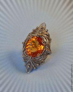 """Купить Перстень """" Город Солнца"""" - цитрин, перстень с камнем, макси-кольцо, авторский перстень"""