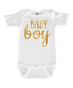 Love this White & Gold 'Baby Boy' Bodysuit by Love you a Latte on #zulily! #zulilyfinds