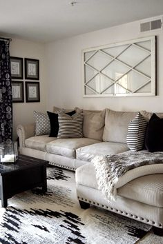 Sectional couch, neutral mixed pattern throw pillows