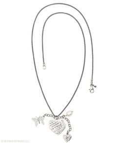"""Live a Charmed Life"" wearing this Sterling Silver and Pearl Charm Necklace by Silpada Designs"