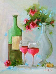 Vinho Tinto e Rosas Vermelhas