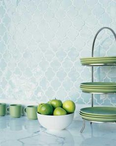 Love this Moroccan tile in blue/green kitchen backsplash.